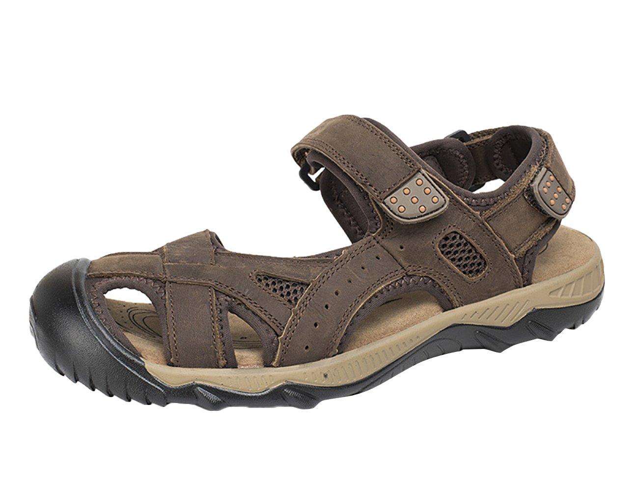 SK Studio Sandalias Hombre Montaña de Cuero Outdoor Transpirables Zapatos Con Velcro 45 EU Marron Oscuro