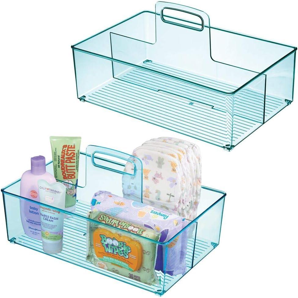 Aufbewahrungsbeh/älter mit Griff aus Kunststoff blau Spielsachen Thermometer Babynahrung usw praktischer Tragekorb f/ür Creme mDesign 2er-Set Caddy mit jeweils 2 F/ächern f/ür Babysachen