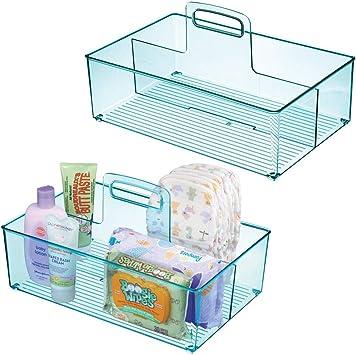jouets lot de 2 nourriture rangement enfant /à 2 compartiments /& poign/ée bleu boite de rangement pour pu/ériculture mDesign panier de rangement b/éb/é en plastique thermom/ètre cr/ème