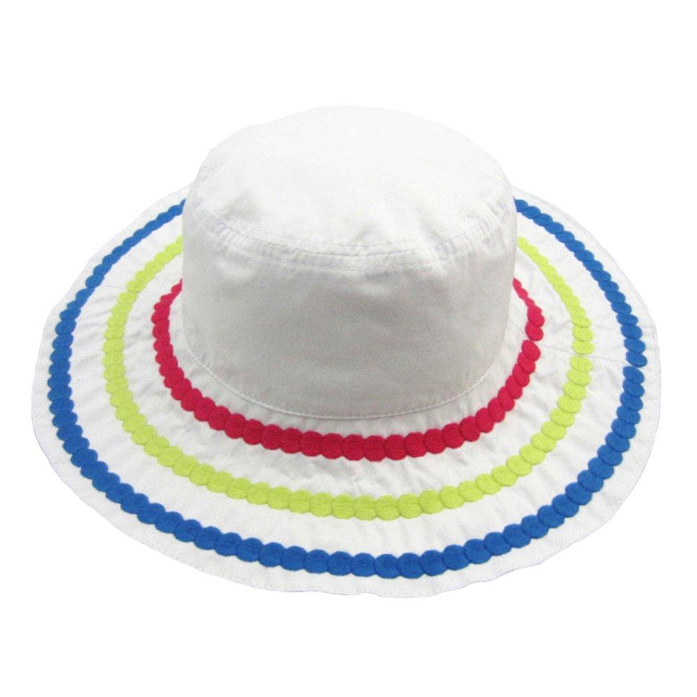 Cotton Panama Hat Girls Babies Children Embroidery Big Brim Summer Sun Hats