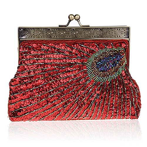 Antique Sequin Women's Vintage Peacock Clutch Beaded Evening Handbag Purse Fashion Designer Unusual Red Teal Elegant Raq4vS