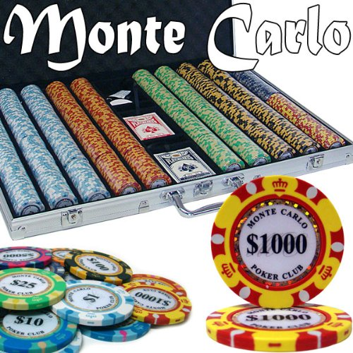 1000 Ct Monte Carlo 3-Tone Poker Chip Set w/ Aluminum Case 14 Gram Chips by Brybelly (Chip Poker 1000 Set 14g)
