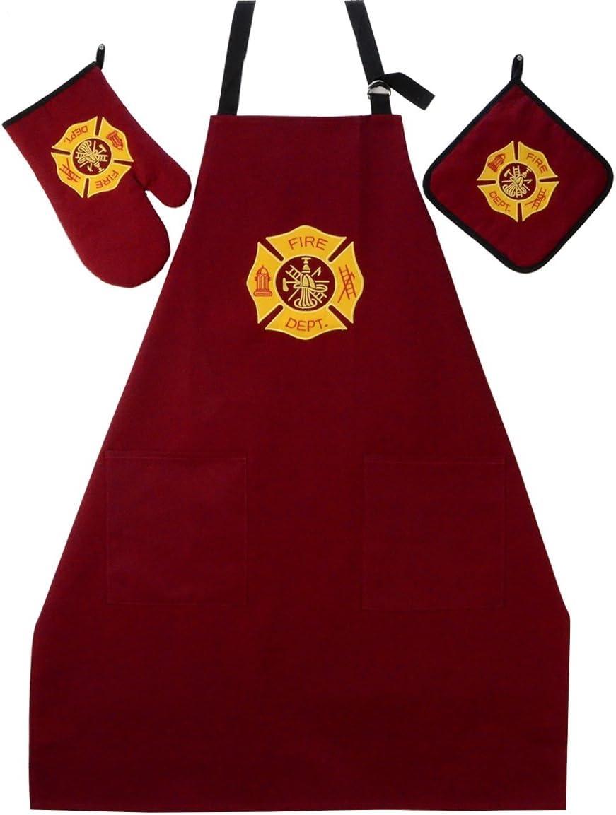 Treasure Gurus Fire Dept BBQ Grill Kit Oven Mitt, Hot Stove Pot Holder, FF Apron 3 Pc Set