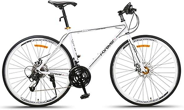 AI-QX Frenos de Disco de Bicicleta de Carretera de Bicicleta 700C-27 Carreras de Velocidad Carreras Hombres y Mujeres Estudiantes Coche Deportivo Fuera de Carretera súper Ligero,White: Amazon.es: Deportes y aire libre