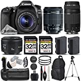 Canon EOS 80D Wi-Fi Full HD 1080P Digital SLR Camera + Canon 18-55mm IS STM + Canon 75-300mm III + Canon 50mm 1.8 II Lens + Battery Grip. All Original Accessories Included - International Version