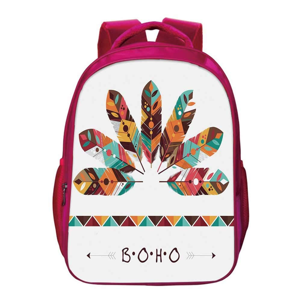 Boho Kids Bookbag,Pastel Colored Artistic Feathers Native Primitive Tribal Cultures Abstract Ornament Decorative for Kids Girls,11.8''Lx6.3''Wx15.7''H by YOLIYANA