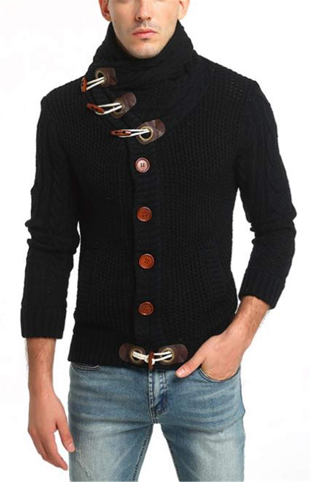 Baby Room Mens Cable Knit Cardigan High Neck Button Down Sweaters X-Large Black