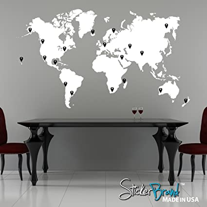 Amazon stickerbrand vinyl wall art world map w pins wall decal stickerbrand vinyl wall art world map w pins wall decal sticker white map w gumiabroncs Image collections