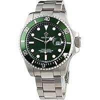 Reginald, orologio sportivo da uomo con quadrante di colore verde, lunetta girevole, con meccanismo al quarzo, retroilluminato, in stile militare, realizzato in acciaio inox