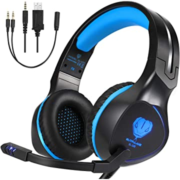BUTFULAKE Xbox One Headset, Gaming Headset for Xbox One, Xbox One S, PS4, PC, Nintendo Switch, Laptop, Mac, Computer, 3.5mm Wired Over-Ear Gaming Headphones with LED Light & Noise Cancelling Mic, Blue