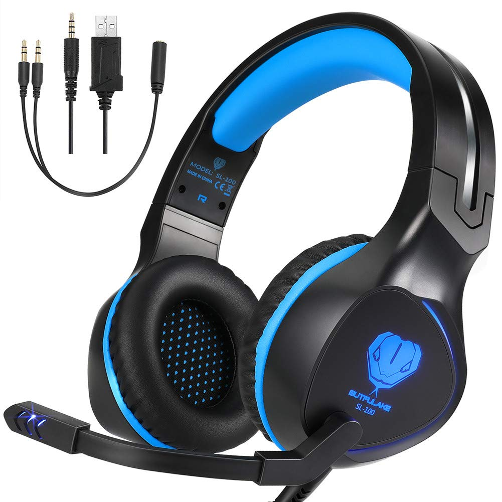 BUTFULAKE Xbox One Headset, Gaming Headset for Xbox One, Xbox One S, PS4, PC, Nintendo Switch, Laptop, Mac, Computer, 3.5mm Wired Over-Ear Gaming Headphones with LED Light & Noise Cancelling Mic, Blue by BUTFULAKE