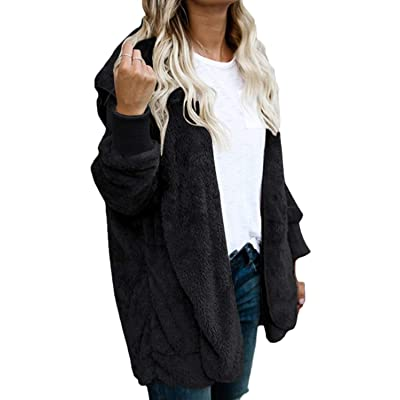 Women Hoodie Winter Casual Plus Size Baggy Furry Cardigan Coats at Women's Clothing store