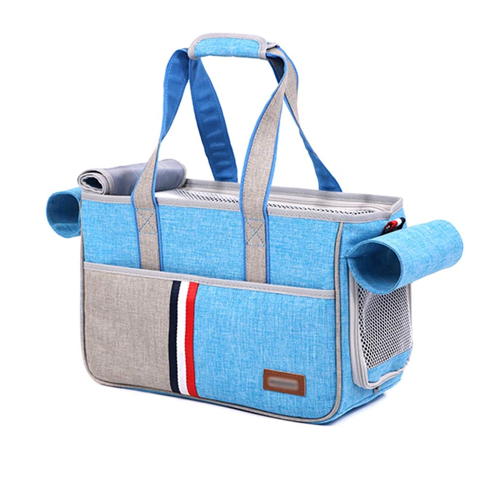 Light bluee Large Light bluee Large XINGZHE Pet travel bag, soft side dog bag, portable kennel out bag, pet travel goods, airy concealed, with security features, suitable for small and medium pets Pet bag