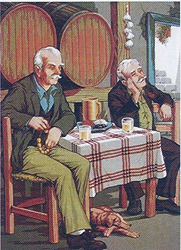 Tavern Canvas Art - TWO MEN AT THE TAVERN NEEDLEPOINT CANVAS, CANVAS ONLY, NOT A KIT