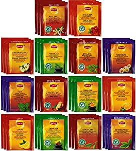 Lipton Tea Sampler - 42 Tea Bags 14 Different Flavors - With Exclusive By The Cup Honeystix