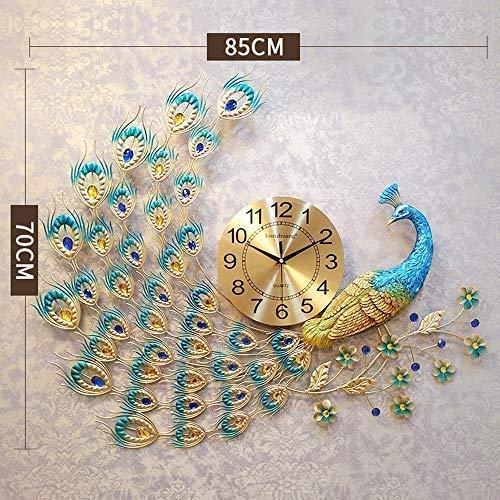 ホームデコレーションクリエイティブパーソナリティウォールクロックJYT、 家の装飾ヨーロッパ孔雀壁時計クリスタル高級リビングルーム時計クリエイティブ人格現代美術装飾壁時計ミュート壁時計クォーツ時計大、ゴールド ファッション雑貨 (色 : ゴールド)  ゴールド B07QZ2YT88