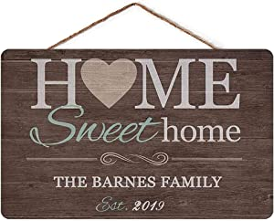 YILMEN Personalized Sweet Home Sign Custom Family Name Home Wall Decor Indoor Outdoor Sign Home Plaque