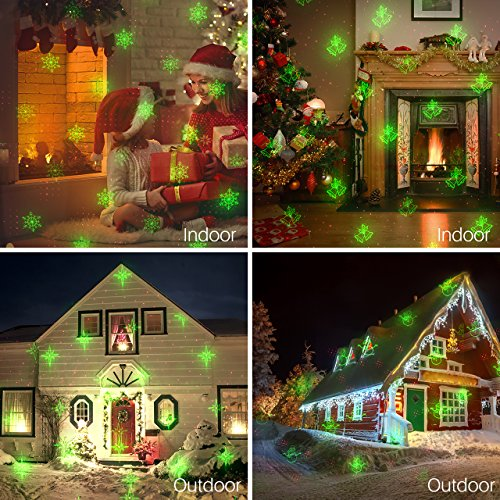 MicroYep Christmas Laser Light,8 Patterns Red and Green Laser Christmas Light with RF Remote Controller , Waterproof Laser Light Projrctor for Xmas, Parties, Landscape or Garden Decoration