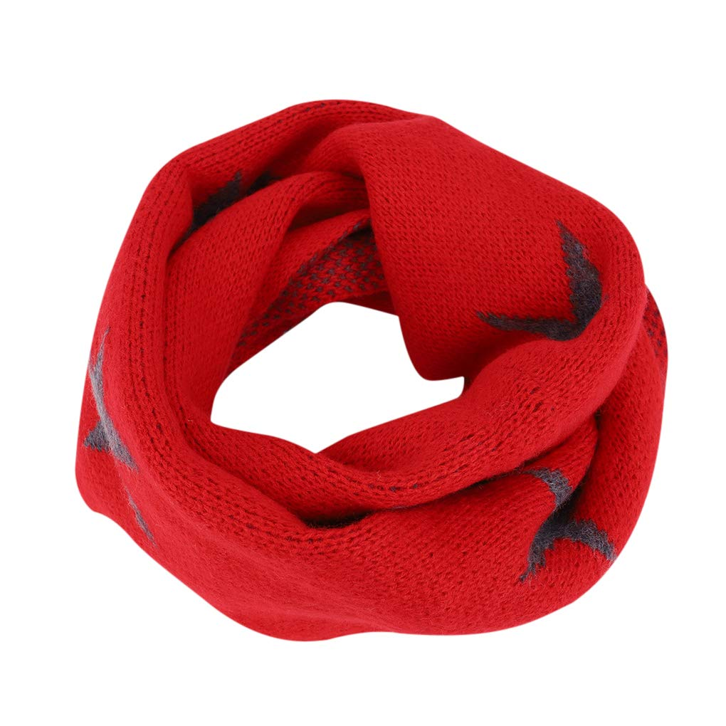 Kids Girls Boys Toddler Stars Knitted Circle Scarves Neck Warmer Winter Soft Warm Neckerchiefs Collar O Ring Loop Snood Scarf, Great Christmas New Year Gift