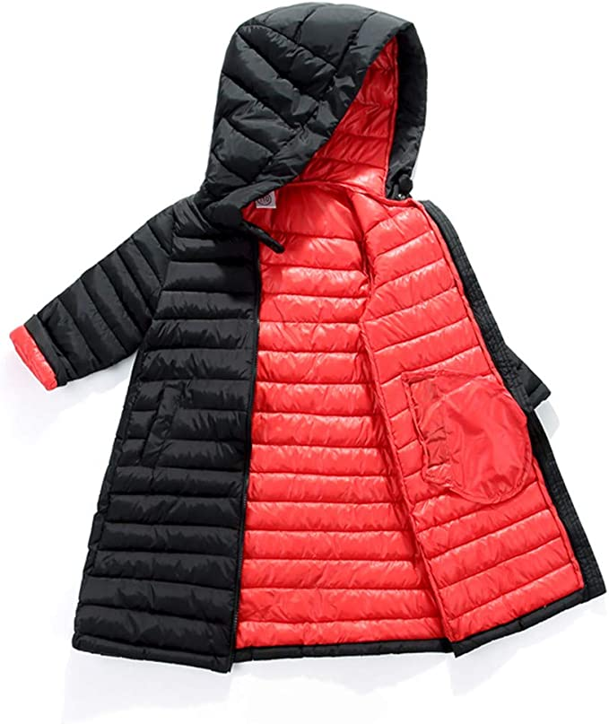 Cromoncent Boy and Girl Warm Hooded Packable Quilted Down Jacket Parka Coat