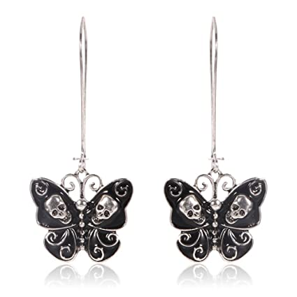 da952a697 Amazon.com: Jesming Long Vintage Butterfly Earrings For Women Fashion  Jewelry Antiuqe Silver Plated Black Enameled Gothic Skull Punk Earring  (Color: Black): ...