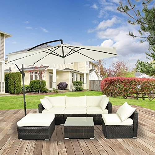 Outsunny 6pcs Deluxe Outdoor Rattan Wicker Sofa Garden Sectional Couch Patio Furniture Set with Cushion, Coffee