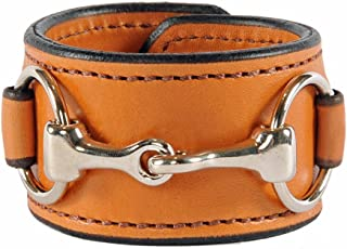 product image for Equestrian Stainless Steel Horse Snaffle Bit Leather Cuff Bracelet