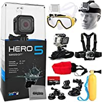 GoPro Hero 5 HERO5 Session Kit + 64GB Memory + Diving Mask + Floating Opteka HandGrip + Head, Chest and Wrist Mount + Buoy Foam Strap + Tripod Monopod Adapter + Car Window Suction Cup