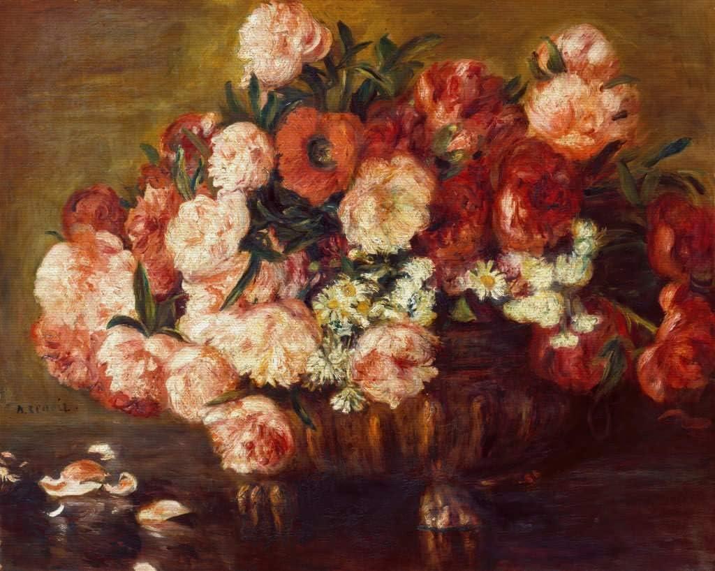 Foto Alte Meister//Museum weewado Auguste Renoir Wand-Bild Bild auf Leinwand Pfingstrosen 25x30 cm Premium Leinwandbild auf Keilrahmen Gem/älde Kunst