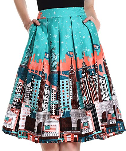 Yige Women's Vintage High Waist Flared Skirt Pleated Floral Print Midi Skirt with Pocket Statue of Liberty-XL (High Statue)