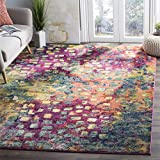 Safavieh Monaco Collection MNC225D Modern Abstract Watercolor Pink and Multi Area Rug (8' x 11')