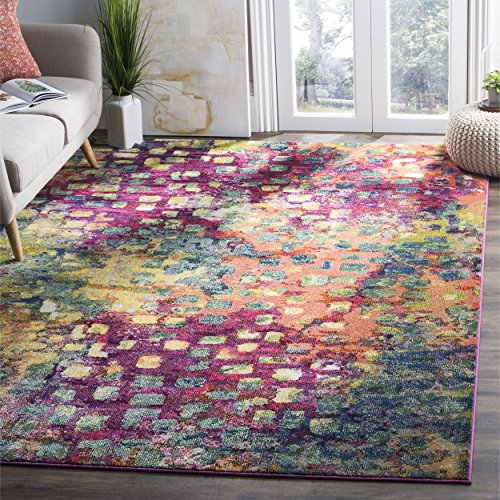Safavieh Monaco Collection MNC225D Modern Abstract Watercolor Pink and Multi Area Rug (6'7'' x 9'2'') by Safavieh