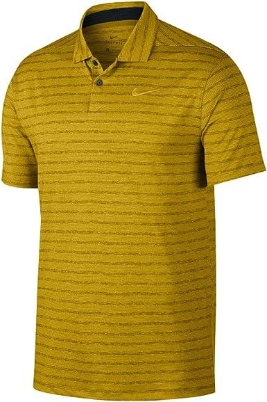 Nike Dry Fit Vapor Stripe Golf Polo 2019 Saffron Quartz/Pure Medium