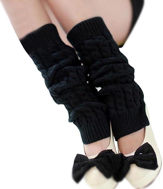 Women Lady Girl Christmas Xmas Leg Warmers Cable Knit Knitted Crochet Long Socks