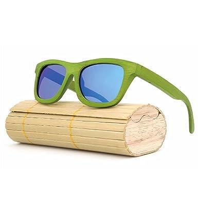 Wayfarer Bambus Vollholz Sonnenbrille Fashion Unisex #55 Brown / Green Iridium a7Zv5NT6
