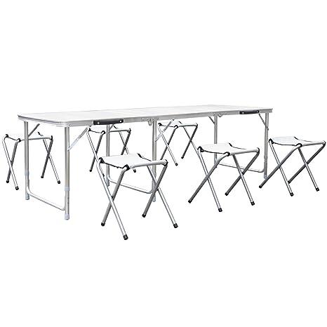 HOMFA Mesa de jardin 180x60x55cm MDF con 6 sillas Altura Ajustable Blanco capacidad para 30 kg