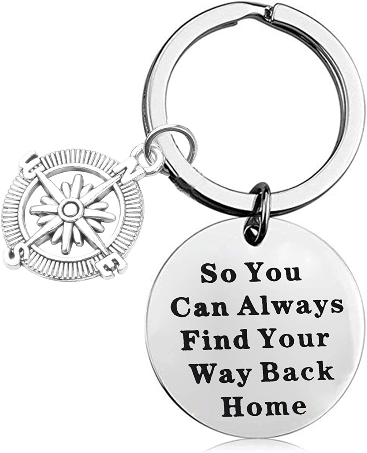 LQRI Compass Key Chain Wanderist Gift So You Can Always Find Your Way Back Home Keychain Travelling Jewelry Inspirational Adventure Gift