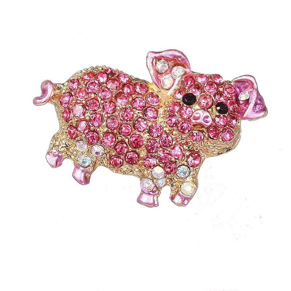 LJSLYJ Pink Pig Animal Lovely Brooch Alloy Full Crystal Enamel for Womens Jewelry