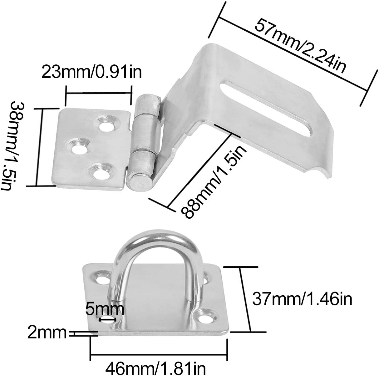 4mm Extra Thick Door Gate Bolt Lock with 32 Mounting Screws KINJOEK Stainless Steel Security Door Clasp Hasp Lock Latch 4 PCS 5 Inch Padlock Hasp