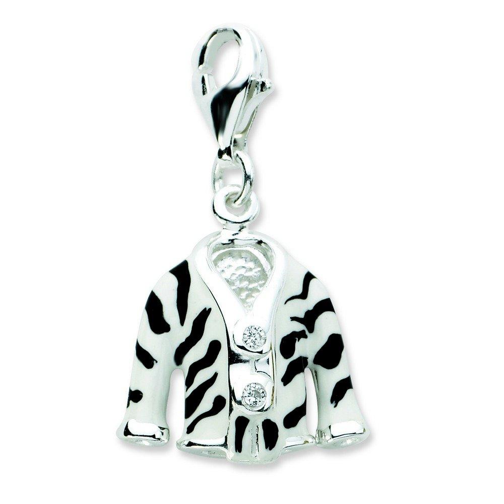 Sterling Silver Rhodium-plated Fancy Lobster Closure Click-on Cubic Zirconia Enamel Zebra Jacket Charm - Measures 25x14mm