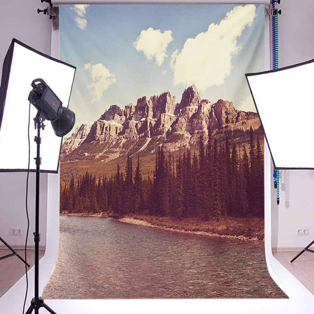Mountain 10x15 FT Backdrop Photographers,High Canadian Rock Mountains and River with Trees Cloudy Sky Snow Tops Landscape Background for Baby Shower Bridal Wedding Studio Photography Pictures