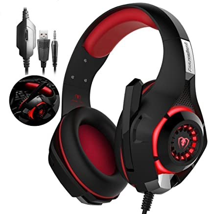 tophie® Gaming Headset, última PS4 Gaming Auriculares con micrófono para PlayStation 4 Xbox One mobile phone PC Tablet Nate portatil rojo GM-1-Rot: Amazon.es: Electrónica