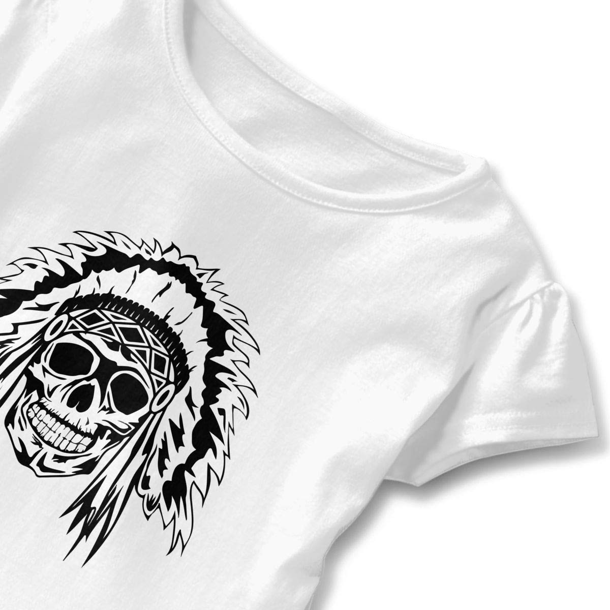 Aztec Skull Indian Native Toddler Baby Girls Short Sleeve Ruffle T-Shirt