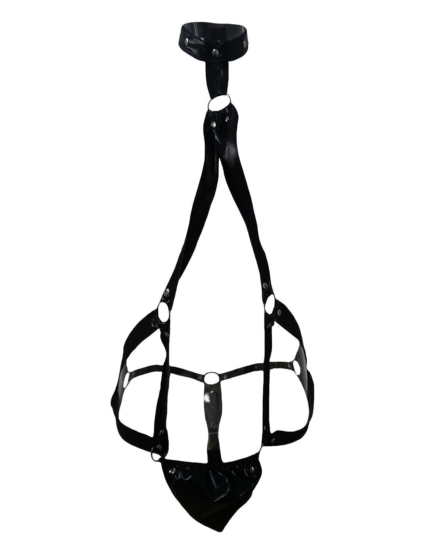 Legou Men's Crotchless Thong Erotic Leather Bandage Jockstrap LGMUQQ0185-1