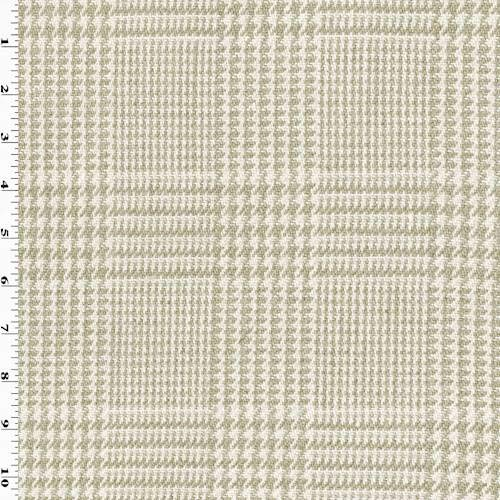 Plaid Glen Fabric (Taupe Beige/White Linen Glen Plaid Home Decorating Fabric, Fabric by The Yard)