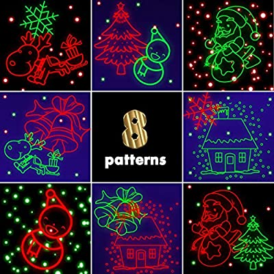 Aluminum Alloy Laser Christmas Lights Projector, Red and Green Motion Laser Lights with Blue LED Background, 8 Various Christmas Theme Patterns with Remote Control