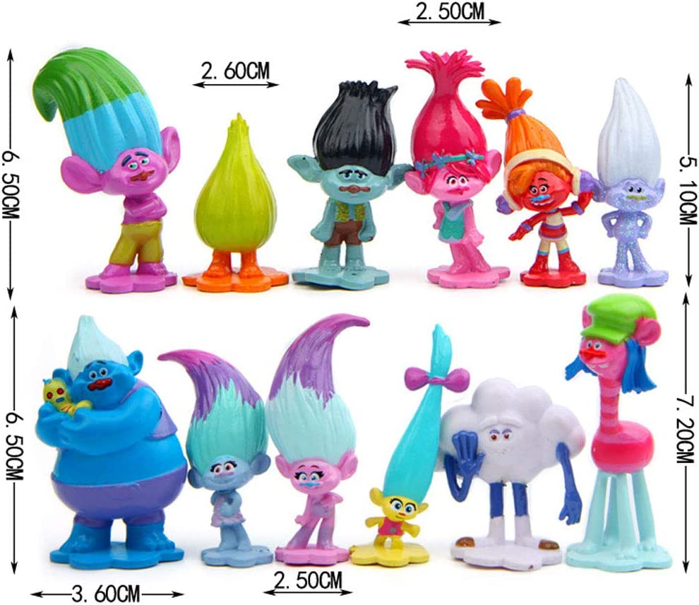 WENTS Trolls Doll Cake Toppers 12pcs Mini Trolls Action Figures Birthday Troll Cake Cupcake Topper Decoration for Kids Birthday Baby Shower Troll Theme Party Supplies