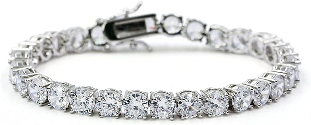 JINAO 1 Row AAA Gold Silver All Iced Out Tennis Bling Lab Simulated Diamond Bracelet
