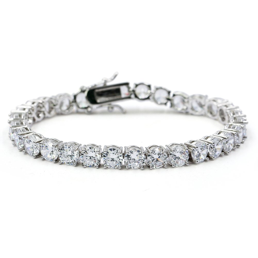"""JINAO 1 Row AAA Gold Silver Iced Out Tennis Bling Lab Simulated Diamond Bracelet 8"""" (Silver)"""
