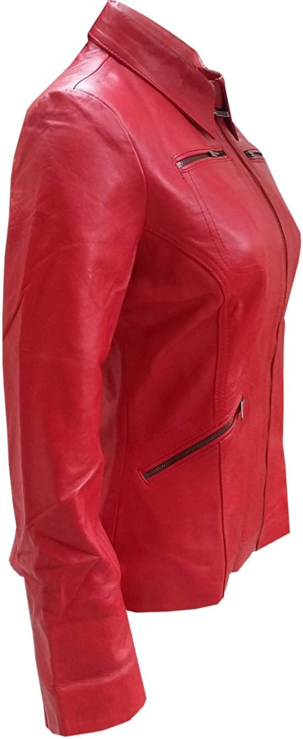 Womens Once Upon a Time Emma Swan Red Leather Jacket 2XS to 3XL